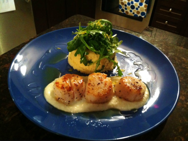 Scallops with Cauliflower Puree (3)
